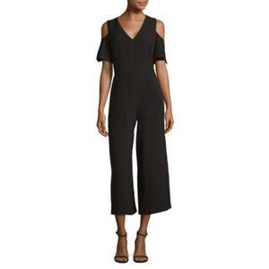 Karl Lagerfeld Cold-Shoulder Black Jumpsuit Size 4